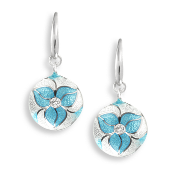 Sterling Silver Wire Earrings-Trillium-Blue-White Sapphire