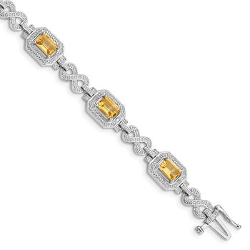 Sterling Silver Rhodium-plated Diamond & Citrine Bracelet