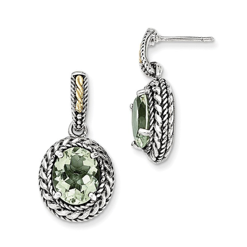 Sterling Silver w/14k Antiqued Green Quartz Post Dangle Earrings