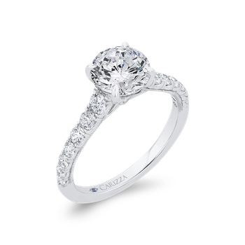 18K White Gold Round Diamond Engagement Ring with Milgrain (Semi-Mount)