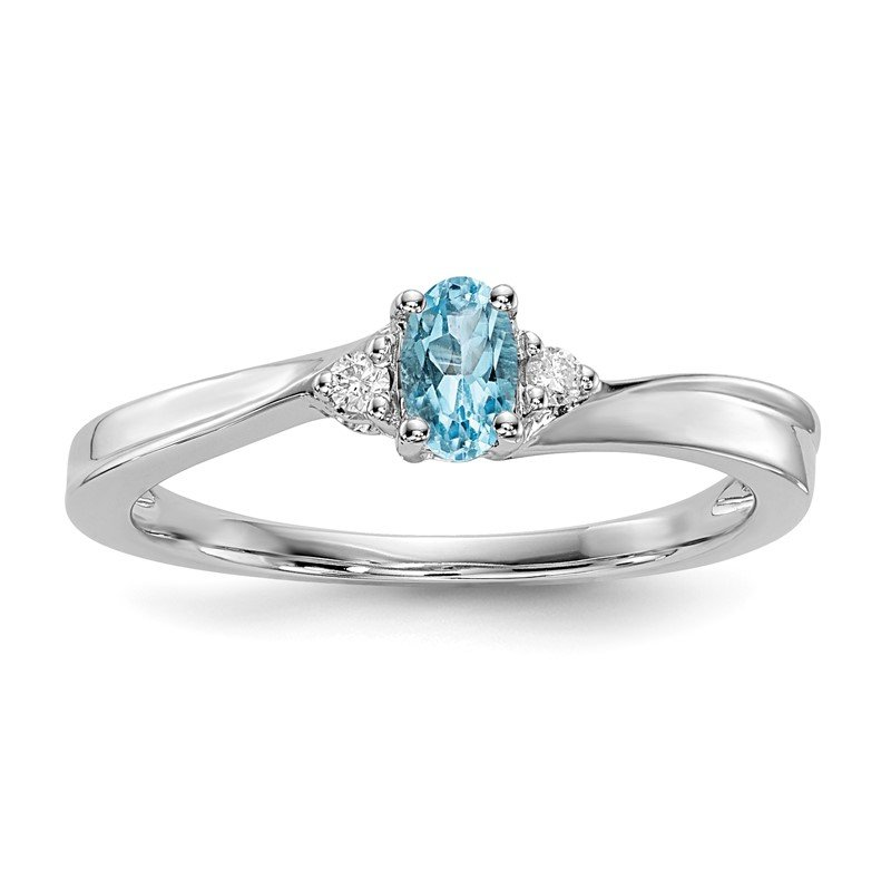 Quality Gold Sterling Silver Rhodium-plated Blue Topaz Birthstone Ring