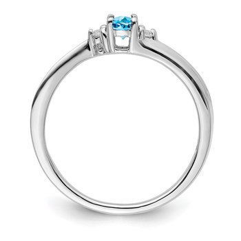 Sterling Silver Rhodium-plated Blue Topaz Birthstone Ring