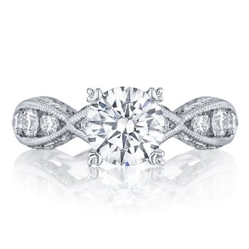 Classic Crescent Round Engagement Ring