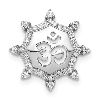 14k White Gold 1/5ct. Diamond Om Symbol Chain Slide