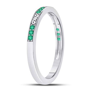 10kt White Gold Womens Round Emerald Single Row Flourished Stackable Band Ring 1/8 Cttw