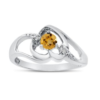 14k White Gold Round Citrine And Diamond Heart Ring