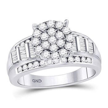 10kt White Gold Womens Round Diamond Cindys Dream Cluster Bridal Wedding Engagement Ring 1.00 Cttw