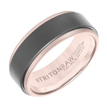 RAW GOLD - 8mm 18K Rose Gold Ring With Matte Insert Men's Wedding Band