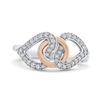 Essentials 10K White & Rose Gold 1/4 Ct Diamond Fashion Ring