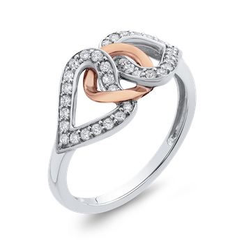 10K White & Rose Gold 1/4 Ct Diamond Fashion Ring