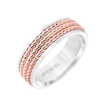 14K Rose+White Gold Rope Comfort Fit Wedding Band