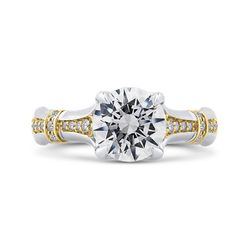 18K Two-Tone Gold Round Cut Diamond Floral Engagement Ring (Semi-Mount)