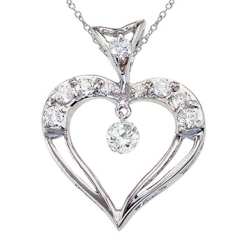 14K White Gold Dashing Diamond Heart Pendant