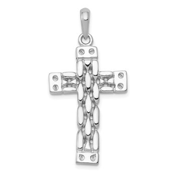 14K White Gold Panther Link Style Cross Pendant