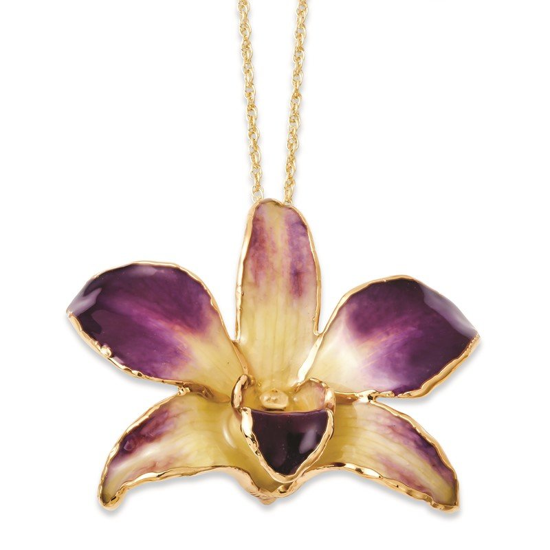 Quality Gold Lacquer Dipped Gold Trimmed Purple/Yellow Dendrobium Orchid Necklace