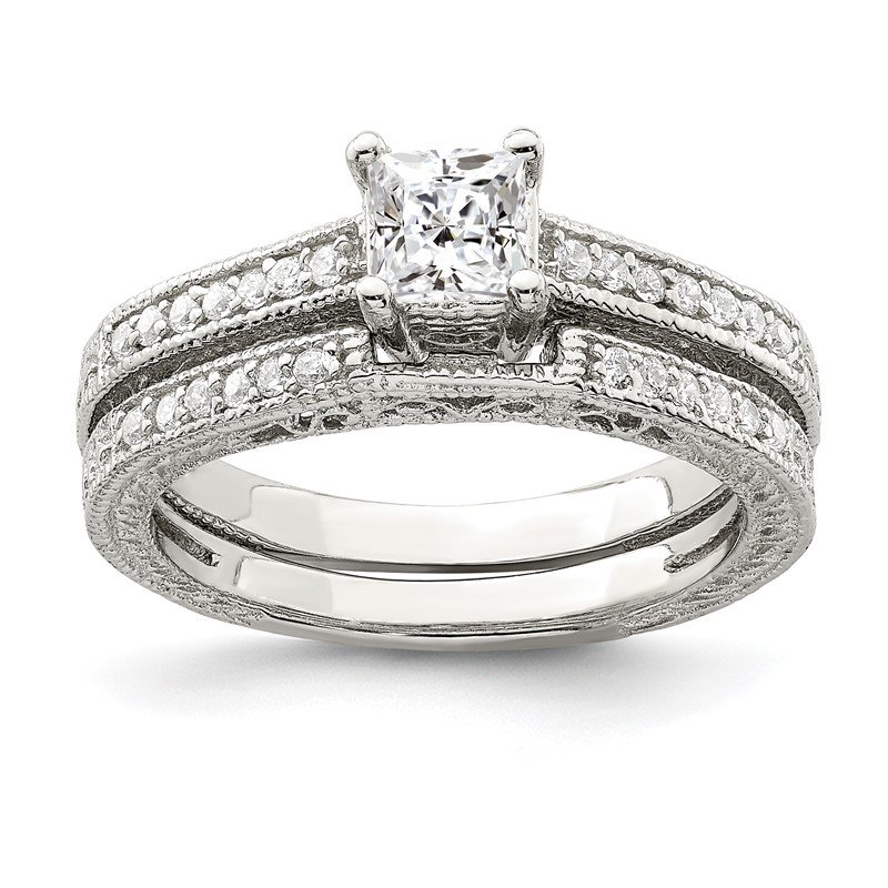 Quality Gold Sterling Silver 2-Piece CZ Wedding Set Ring