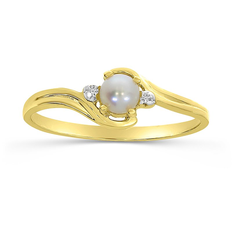 Color Merchants 10k Yellow Gold Freshwater Cultured Pearl And Diamond Ring