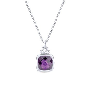 925 Sterling Silver Cushion Cut Bezel Set Amethyst Pendant Necklace