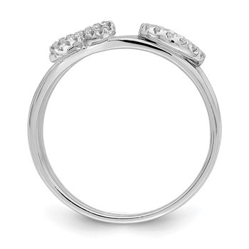 Sterling Silver Rhodium-plated CZ X & O 2-Ring Set