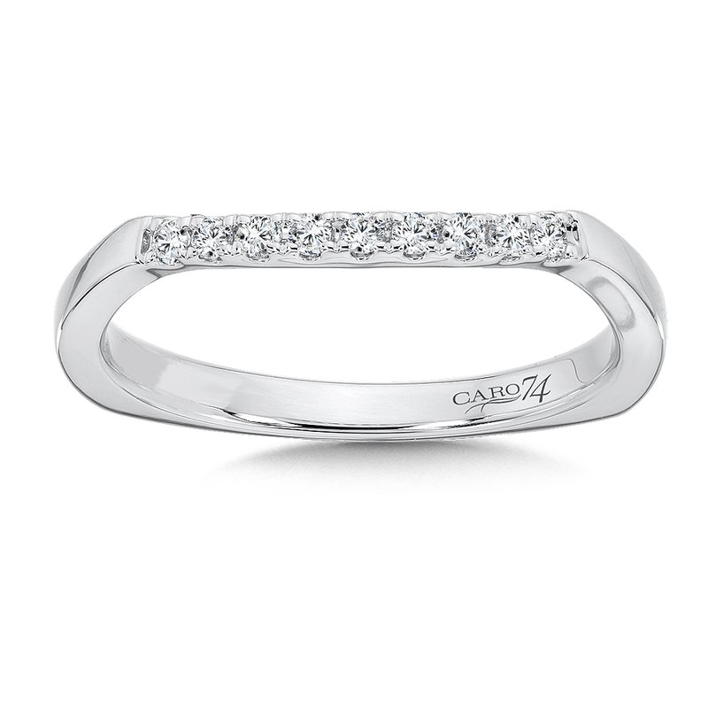 Caro74 Diamond and 14K White Gold Wedding Band