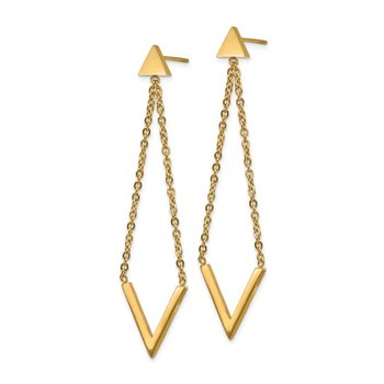 Stainless Steel Polished Yellow IP-plated Triangle Post V Dangle Earrings