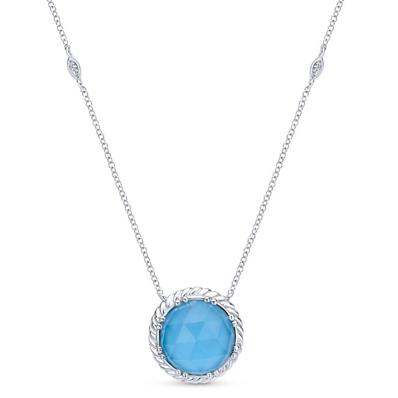 Gabriel Fashion 925 Sterling Silver Rock Crystal and Turquoise Pendant Necklace
