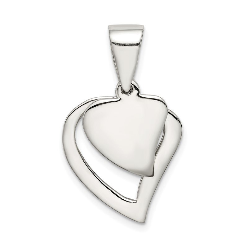 Quality Gold Sterling Silver Double Heart Pendant