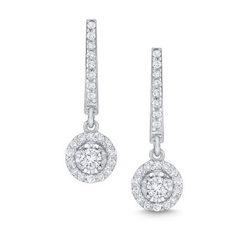 Round Halo Diamond Drop Earrings Set in 14 Kt. Gold