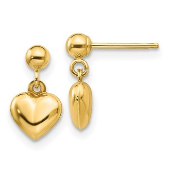 14k Madi K Puffed Heart Dangle Earrings
