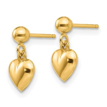 14k Madi K Puffed Heart Post Dangle Earrings