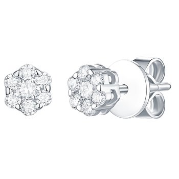Smiling Rocks 0.26Ct G-H/VS1 Lab Grown Diamond 7-Stone Cluster Stud Earring