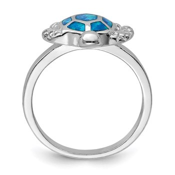 Sterling Silver Rhodium Created Blue Opal Turtle Ring
