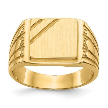 14k 11.5x11.0mm Open Back Mens Signet Ring