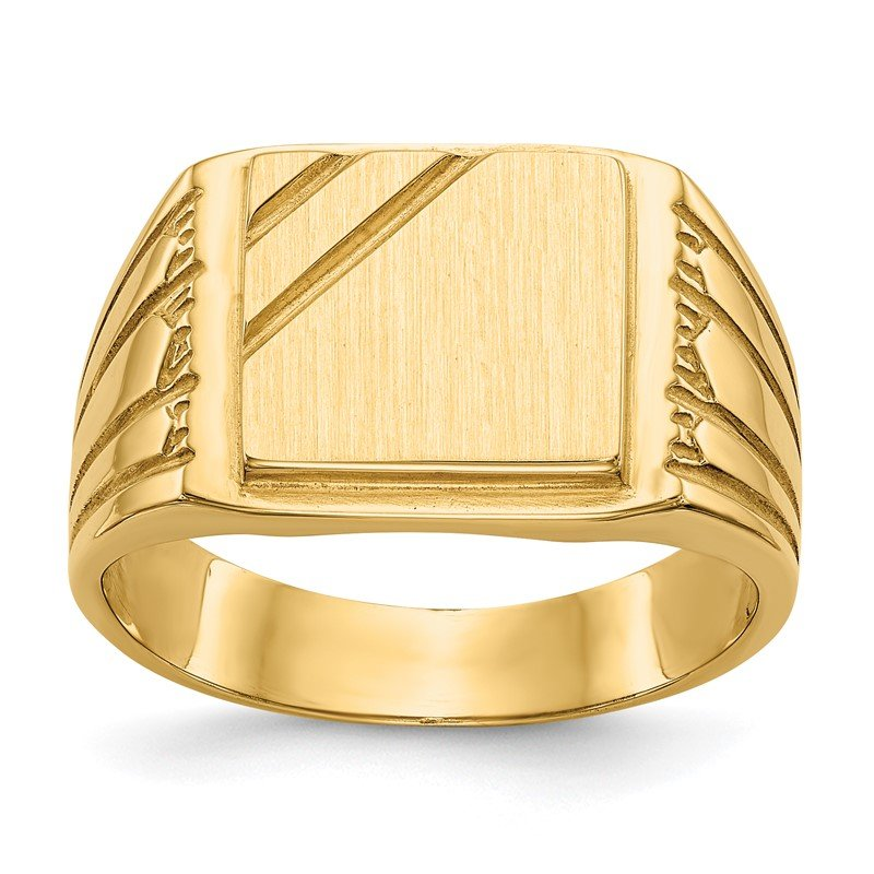 Quality Gold 14k 11.5x11.0mm Open Back Mens Signet Ring