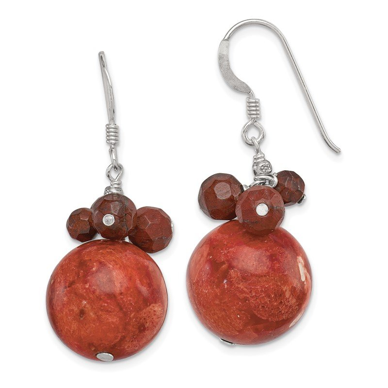 Quality Gold Sterling Silver Faceted Red Jasper & 14mm Reconstituted Coral Earrings