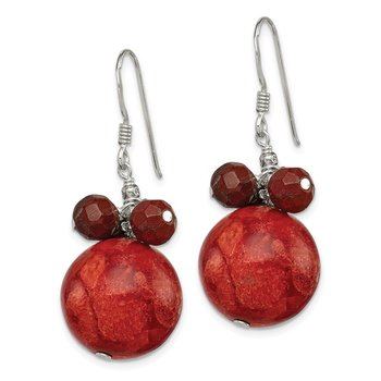 Sterling Silver Faceted Red Jasper & 14mm Reconstituted Coral Earrings