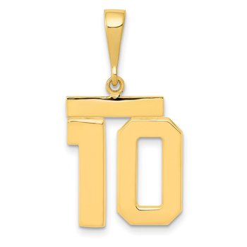 14k Medium Polished Number 10 Charm