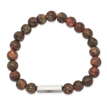 Stainless Steel Polished Enamel Medical ID Poppy Jasper Stretch Bracelet