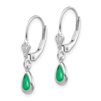 14k White Gold 6x4mm Emerald/May Earrings