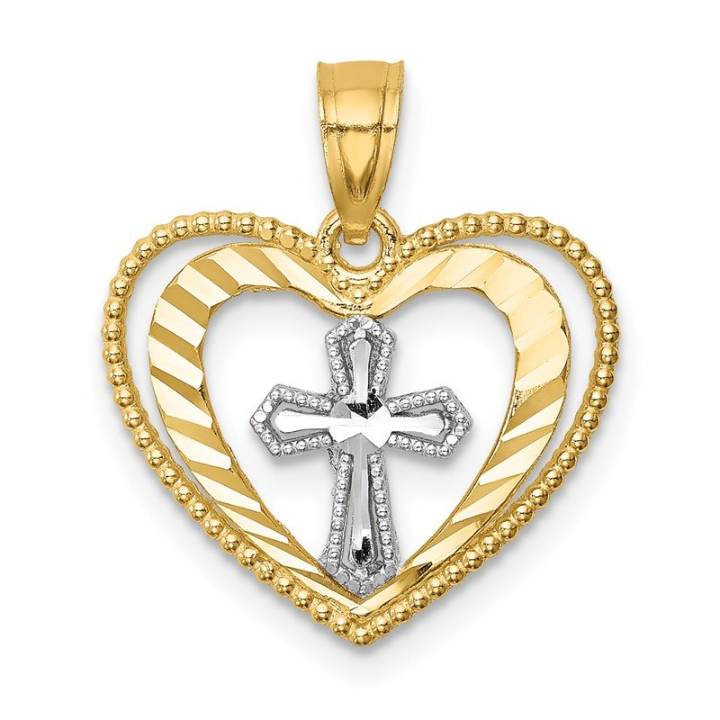 Quality Gold 14K w/Rhodium D/C Heart w/Cross Pendant