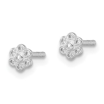 Sterling Silver Madi K Rhodium Plated CZ Flower Post Earrings