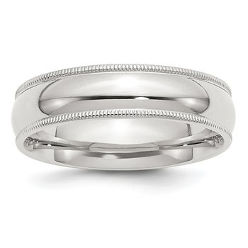 Sterling Silver 6mm Milgrain Comfort Fit Band