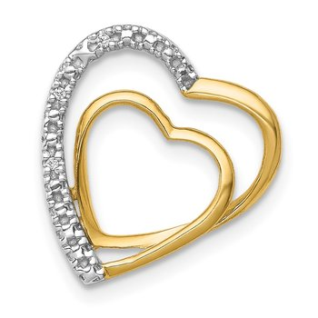 14k .01ct. Diamond Double Heart Chain Slide