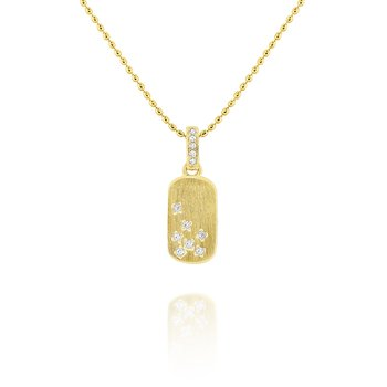 14k Diamond Tag Necklace with Brushed Finish