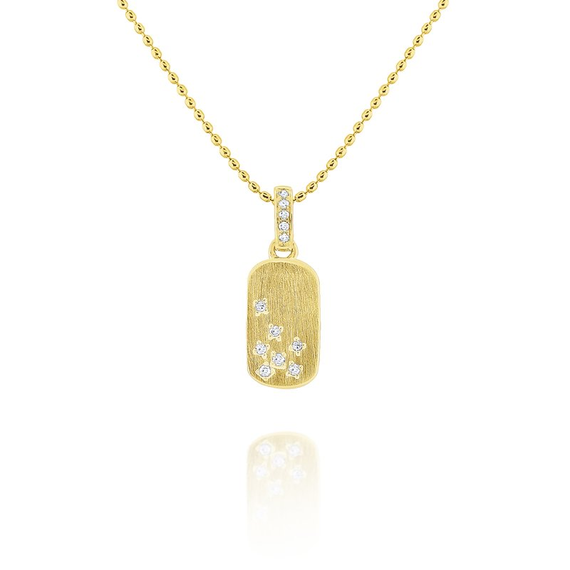 KC Designs 14k Diamond Tag Necklace with Brushed Finish