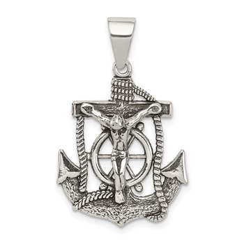 Sterling Silver Antiqued Mini Mariner INRI Crucifix Pendant