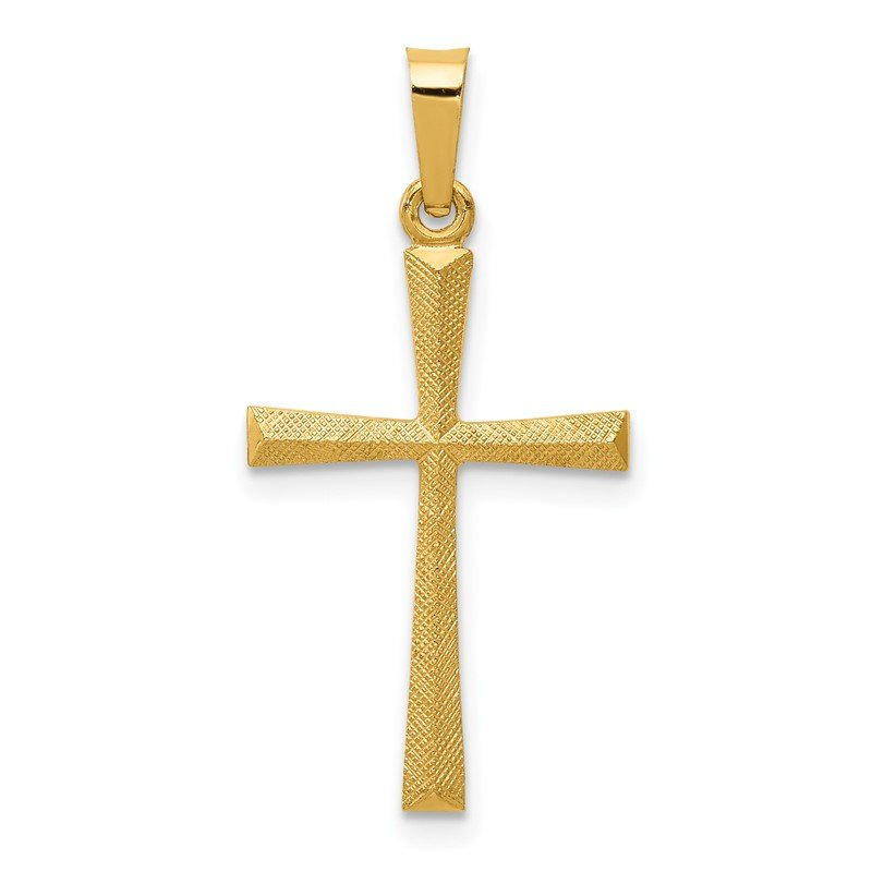 Quality Gold 14k Textured and Polished Latin Cross Pendant
