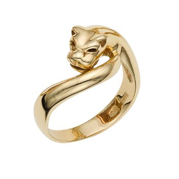 14K Gold Polished Panther Ring