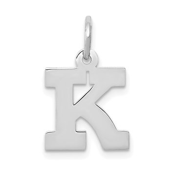 14KW Small Block Letter K Initial Charm