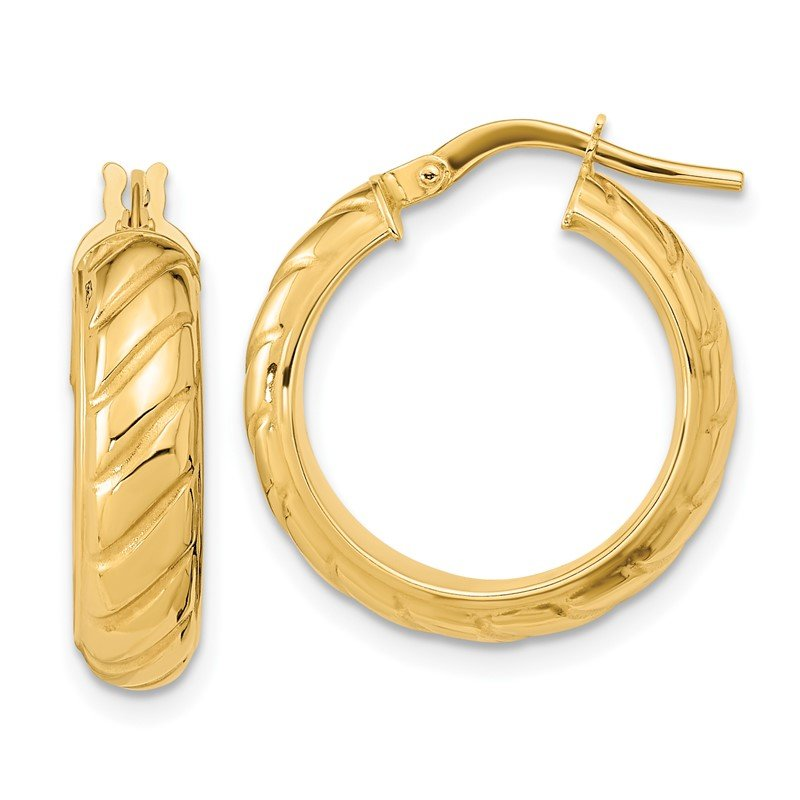 Quality Gold 14k Polished Fancy Hoops